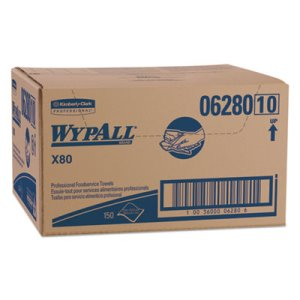 Wypall X80 Foodservice Towel, HYDROKNIT, Blue/White, 150 Towels (KCC06280)