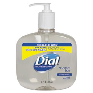 Dial Antimicrobial Sensitive Skin Hand Soap, 12 - 16-oz Pump Bottles (DIA 80784)