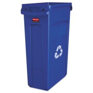Rubbermaid 3540-07 Slim Jim 23 Gal. Recycle Can w/Vents, Blue (RCP 3540-07 BLU)