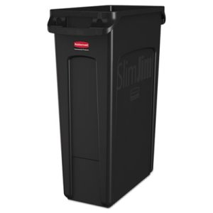 Rubbermaid 354060 Slim Jim 23 Gallon Trash Can with Vents, Black (RCP354060BK)