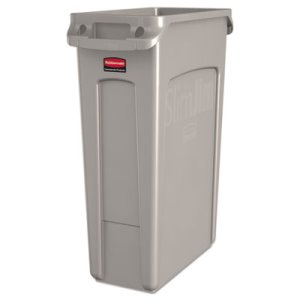 Rubbermaid 354060 Slim Jim 23 Gallon Trash Can w/Vents, Beige (RCP354060BG)