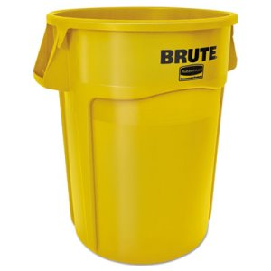 Rubbermaid 55 Gallon Round Brute Container, Plastic, Yellow (RCP2655YELEA)