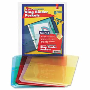 "CardinalRing Binder Pockets, 8 1/2"" x 11"", Assorted Colors, 5 Pockets (CRD84007)"