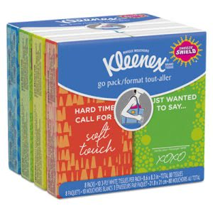 Kleenex Facial Tissue Pocket Packs, White, 8 Packs (KCC46651)