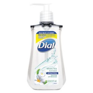 Dial Antimicrobial Liquid Soap, 7 1/2 oz Pump Bottle, White Tea (DIA02660)
