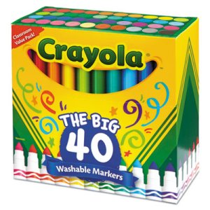 Crayola Washable Markers, Broad Point, Assorted Colors, 40/Set (CYO587858)