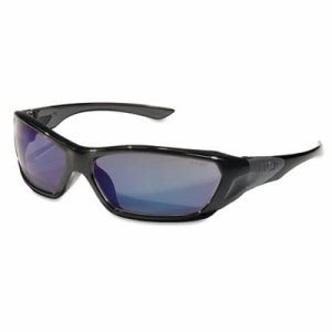 Crews ForceFlex Safety Glasses, Black Frame, Blue Lens (CRWFF128B)
