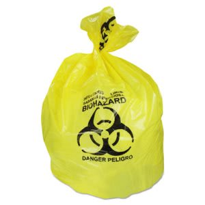 30 Gallon Yellow Biohazard Garbage Bags, 43x30, 1.3 mil, 200 Bags (HERA6043PY)