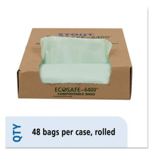 30 Gallon Compostable Green Compost Bags, 30x39, 1.1mil, 48 Bags (STOE3039E11)