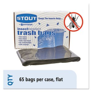 55 Gallon Insect-Repellent Garbage Bags, 37x52, 2mil, 65 Bags (STOP3752K20)