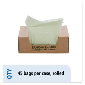 13 Gallon Compostable Green Compost Bags, 24x30, 0.85mil, 45 Bags (STOE2430E85)
