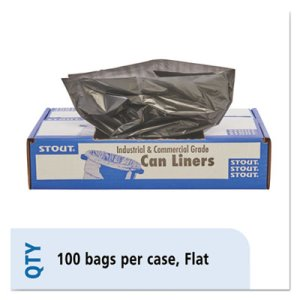 Stout 100% Recycled Bags, 45gal, 1.5mil, 40x48, Brown/Black,100/CT (STOT4048B15)