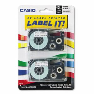 Casio Tape Cassettes 12mm x 26ft, Black on White, 2 per Pack (CSOXR12WE2S)