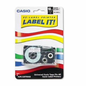"Casio Tape Cassette for KL Label Makers, 3/4"" x 26', Black on White (CSOXR18WES)"