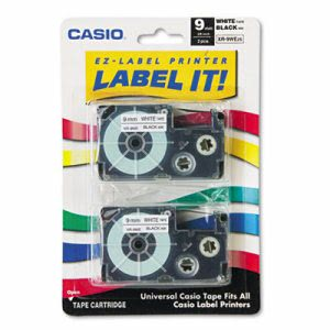 Casio Tape Cassettes for KL Label Makers, 9mm x 26ft, Black on White, 2/Pack (CSOXR9WE2S)