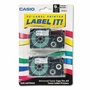 Casio Tape Cassettes for KL Label Makers, 9mm x 26ft, 2/Pack (CSOXR9X2S)
