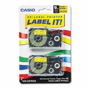 Cassettes for KL Label Makers, 9mm x 26ft, Black on Yellow, 2/Pack (CSOXR9YW2S)