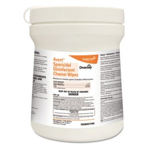 Diversey Avert Sporicidal Disinfectant Cleaner Wipes 12 Canisters (DVO100895790)