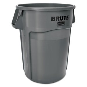 Rubbermaid Brute 55 Gallon Round Vented Trash Can, Gray, Each (RCP 2655 GRA)
