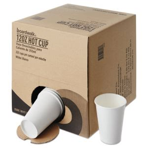 Boardwalk 12-oz. Paper Hot Cups, White, 225 Cups (BWKWHT12HCUPOP)