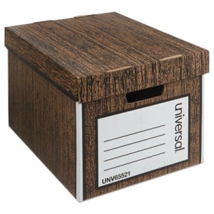 Universal Heavy Duty Storage Box, Letter, Woodgrain, 12 Boxes (UNV65521)