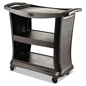 Rubbermaid 9T68 Executive Service Cart, Black, 1 Each (RCP 9T68 BLA)