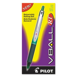 Pilot VBall Roller Ball Retractable Liquid Pen, Green Ink, Fine (PIL26209)