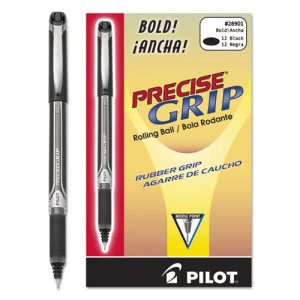 Pilot Precise Grip Roller Ball Stick Pen, Black Ink, Bold, Dozen (PIL28901)