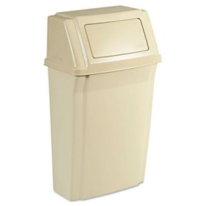 Rubbermaid Slim Jim Mounted 15 Gallon Container, Plastic, Beige (RCP7822BEI)