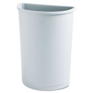 Rubbermaid 3520 Untouchable Half Round 21 Gallon Trash Can, Gray (RCP 3520 GRA)