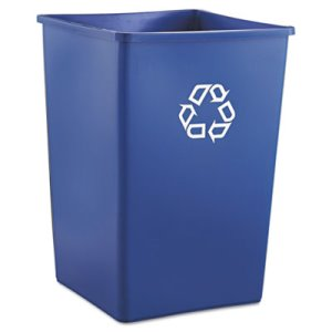 Rubbermaid 395873 Square 35 Gallon Recycling Can, Blue (RCP395873BLU)