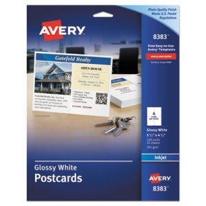 Avery Inkjet Glossy Photo-Quality Postcards, Four per Sheet, 100/Pack (AVE8383)