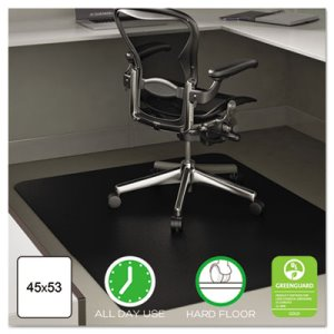 Deflect-o Anytime Use Chair Mat for Hard Floor, 45 x 53, Black (DEFCM21242BLK)