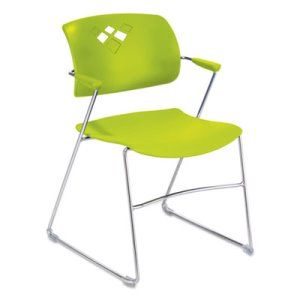 Safco Veer Series Stacking Chair With Arms, Sled Base, Grass/Chrome, 4/Carton (SAF4286GS)