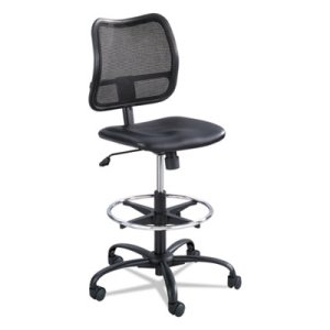 Safco Vue Series Mesh Extended Height Chair, Vinyl Seat, Black (SAF3395BV)