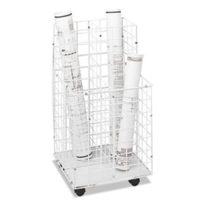 Safco Roll Files, 4 Compartments, 16-1/4w x 16-1/2d x 30-1/2h, White (SAF3084)