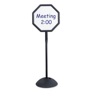 Safco Double Sided Sign, Magnetic/Dry Erase Steel, WT, Black Frame (SAF4118BL)