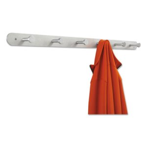 Safco Nail Head Wall Coat Rack, Six Hooks, Satin Aluminum (SAF4202)