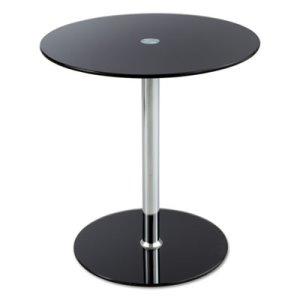 Safco Glass Accent Table, Tempered Glass/Steel,  Black/Silver (SAF5095BL)