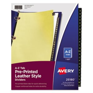 Avery Copper Reinforced Leather Tab Dividers, A-Z, Black, 25 Dividers (AVE25180)