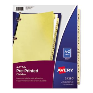 Avery Reinforced Tab Dividers, A-Z, Letter, Buff, 25 Dividers (AVE24280)