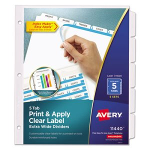 Avery Index Maker Clear Label Dividers, 5-Tab, 11 1/4 x 9 1/4, 5 Sets (AVE11440)