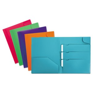 Oxford Divide It Up Four-Pocket Poly Folder, 11 x 8-1/2, Assorted (OXF99837)