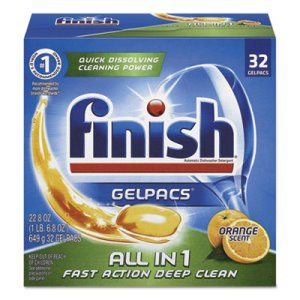 Finish 81053 Dish Detergent Gel Packs, Orange, 32 Pacs (RAC81053)