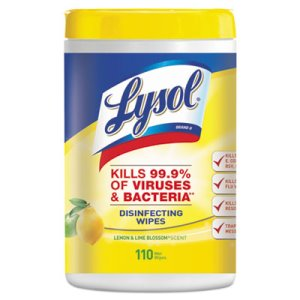 Lysol Disinfecting Wipes, Lemon & Lime Blossom, 6 Canisters (RAC78849)
