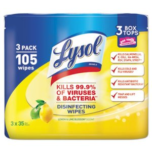 Lysol Disinfecting Wipes, Lemon Lime, 12 Canisters (REC 82159)