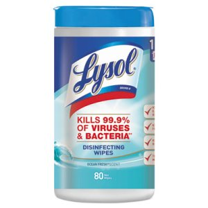 Lysol Disinfecting Wipes, Ocean Fresh Scent, 80 Wipes (RAC77925EA)