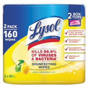 Lysol Disinfecting Wipes, Lemon Lime, 2 Canisters (RAC80296PK)