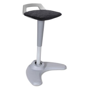 Alera Sit to Stand Perch Stool, Black with Silver Base (ALEAE36PSBK)