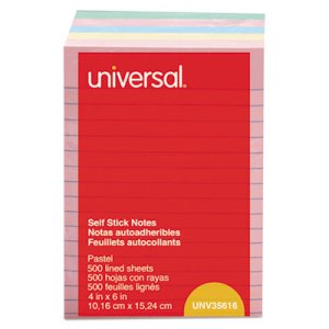 Universal Self-Stick Notes, 4 x 6, Lined, 4 Pastel Colors, 5 Pads (UNV35616)
